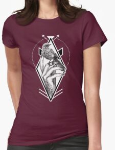 Bird In The Tattooed Hand (Colour) Womens Fitted T-Shirt