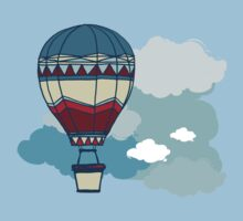 Drawing Illustration of hot air balloons floating in the sky.  Kids Clothes