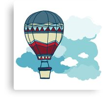 Drawing Illustration of hot air balloons floating in the sky.  Canvas Print