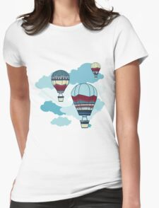 Drawing Illustration of hot air balloons floating in the sky.  Womens Fitted T-Shirt