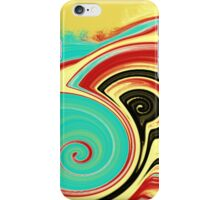 Red, Turquoise, and Black Swirls on Gold iPhone Case/Skin