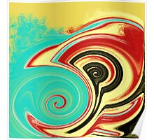 Red, Turquoise, and Black Swirls on Gold Poster