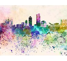 Lyon skyline in watercolor background Photographic Print