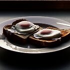 Poached Eggs close up by Claire Walsh