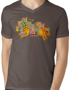 Catzilla Takes a Break Mens V-Neck T-Shirt