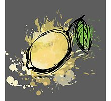 The stylized lemon colorful splashes Photographic Print