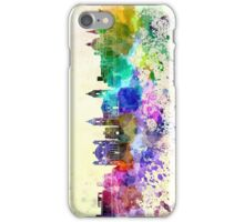 Valletta skyline in watercolor background iPhone Case/Skin