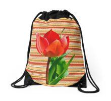 tulip on a striped background Drawstring Bag