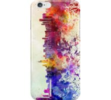 Chicago skyline in watercolor background iPhone Case/Skin