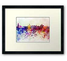Chicago skyline in watercolor background Framed Print