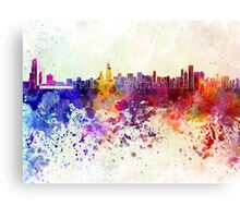 Chicago skyline in watercolor background Canvas Print