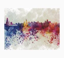 Chicago skyline in watercolor background T-Shirt