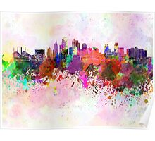 Kansas City skyline in watercolor background Poster