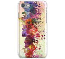 Dallas skyline in watercolor background iPhone Case/Skin