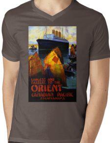 Orient Vintage Travel Poster Restored Mens V-Neck T-Shirt