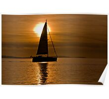 """""""Calm Waters"""" - GBR Sailing Boat at Lepe beach Hampshire Poster"""