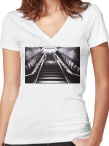 Silver Stairway Women's Fitted V-Neck T-Shirt