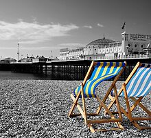"""Great View"" - Deck chairs on Brighton beach. by silvcurl09"