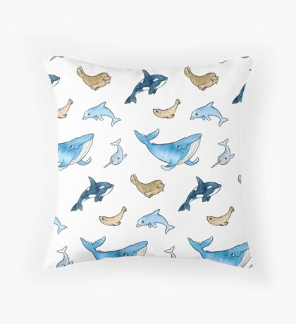 Sea mammals pattern Throw Pillow