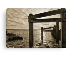 """Barrier"" - Shore defence at Hurst Castle Hampshire Canvas Print"