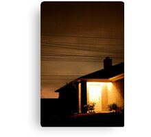 A Suburban Home at Night Canvas Print