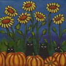 Four Cats in the Pumpkin Patch by Ryan Conners