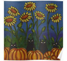 Four Cats in the Pumpkin Patch Poster