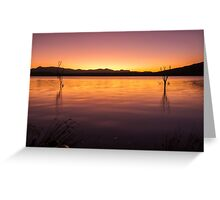 Colourful sunset at Lake Moogerah in Queensland Greeting Card