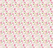 Pretty Floral Pink Flowers by Illuzstrated