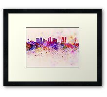 Rotterdam skyline in watercolor background Framed Print
