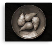 four pears in a bowl Canvas Print