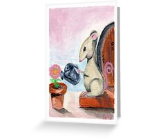 Miss Mouse Tends House Greeting Card