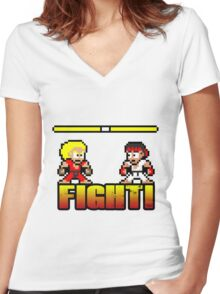 'FIGHT!' Women's Fitted V-Neck T-Shirt