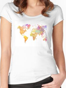 World Map Pastel Women's Fitted Scoop T-Shirt