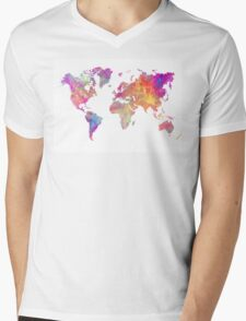 World Map Violet Mens V-Neck T-Shirt