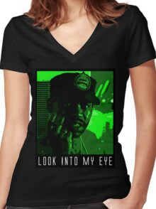 Look Into My Eye Women's Fitted V-Neck T-Shirt