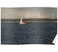 Windmills & Sailboat Poster