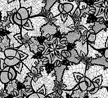 Elegant floral black hand drawn lace pattern by GirlyTrend