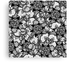 Elegant floral black hand drawn lace pattern Canvas Print