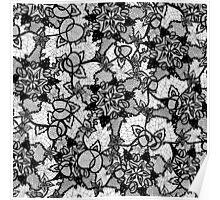 Elegant floral black hand drawn lace pattern Poster