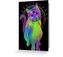 Psychic Psychedelic Cat Greeting Card