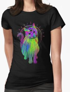 Psychic Psychedelic Cat Womens Fitted T-Shirt