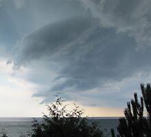 funnel cloud over lake by Leeanne Middleton