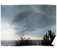 funnel cloud over lake Poster