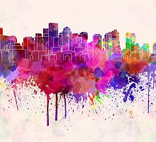 Boston skyline in watercolor background by paulrommer