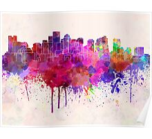 Boston skyline in watercolor background Poster