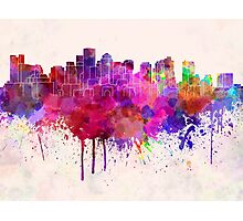 Boston skyline in watercolor background Photographic Print