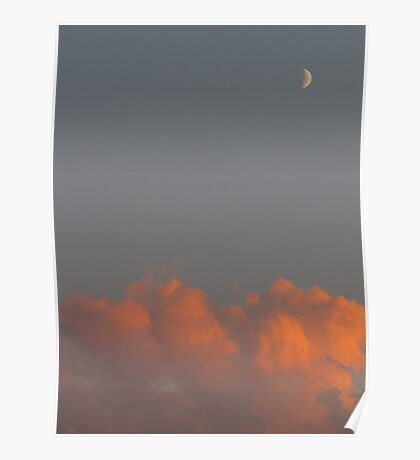crescent moon at sunset Poster