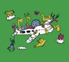 Cartoon Animals on a Airplane Baby Tee