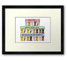 September 1st Birthday with cats. Framed Print